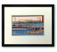 Kanaya - Hiroshige Ando - 1838 - woodcut Framed Print