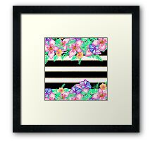 Stylish black white gold stripes exotic floral Framed Print