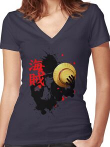 One Piece - Luffy (Pirate Kanji) Women's Fitted V-Neck T-Shirt