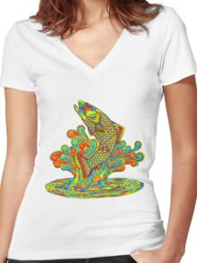 Psychedelic Rainbow Trout Women's Fitted V-Neck T-Shirt