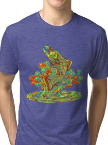 Psychedelic Rainbow Trout Tri-blend T-Shirt
