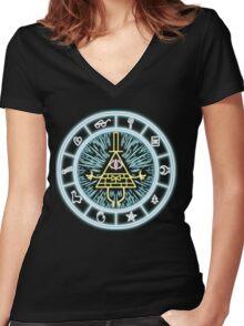 Gravity Falls Bill Cipher Wheel Women's Fitted V-Neck T-Shirt