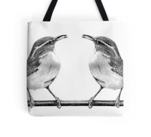 Bird Couple, Birds in Pencil, Wildlife Drawing Tote Bag