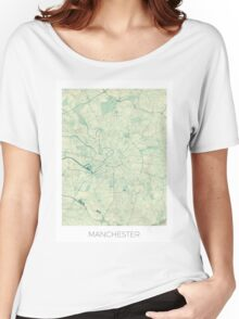 Manchester Map Blue Vintage Women's Relaxed Fit T-Shirt