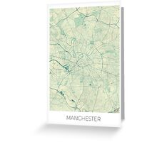 Manchester Map Blue Vintage Greeting Card