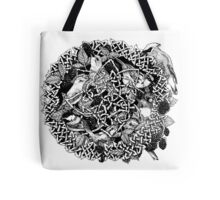 Blackberry Bramble Songbirds Knot Wreath - Black and White Tote Bag