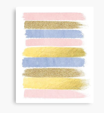 Pantone gold glitter pastel cute girly brushstroke abstract painting  Canvas Print