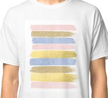 Pantone gold glitter pastel cute girly brushstroke abstract painting  Classic T-Shirt