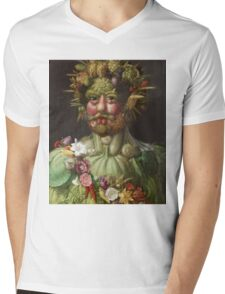 Giuseppe Arcimboldo - Rudolf II of Habsburg as Vertumnus 1590 , Fashion Portrait, Italian Handsome Man. Mens V-Neck T-Shirt