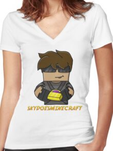 SkyDoesMinecraft Women's Fitted V-Neck T-Shirt