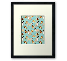 Pizza Pugs cute pet portraits funny puggle puppy dog pizza junk food dog gift trendy hipsters Framed Print