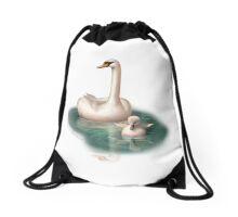 Beautiful Swan and Baby Drawstring Bag