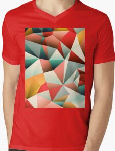 Modern Abstract Geometric Pattern Mens V-Neck T-Shirt