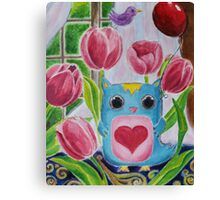 Owl in the Starry Garden Canvas Print