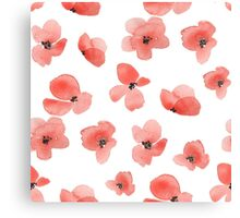 Floral background with red watercolor flowers Canvas Print