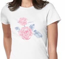 Pink and blue roses colored ink sketch  Womens Fitted T-Shirt