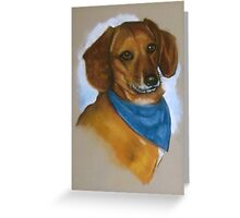 Daschund with Bandanna: Oil Pastel Painting, Dog Greeting Card