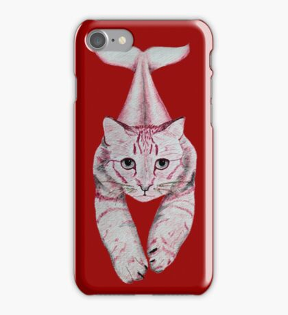 Cat with a tail (red) iPhone Case/Skin