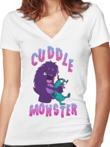 Cuddle Monster Women's Fitted V-Neck T-Shirt