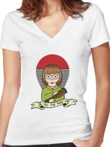 The Log Lady Women's Fitted V-Neck T-Shirt