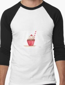 Cupcake watercolour painting Men's Baseball ¾ T-Shirt