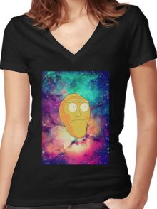Morty Moon. Women's Fitted V-Neck T-Shirt