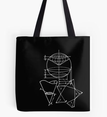 Vintage Math Diagrams - white on black Tote Bag