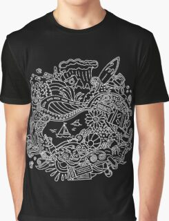 Doodle Summer Vacation Illustration Graphic T-Shirt