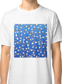 Cute and Colorful Rainbow Pattern on Blue Classic T-Shirt