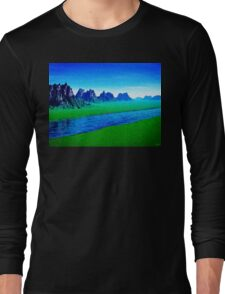 Mountain River Landscape Long Sleeve T-Shirt