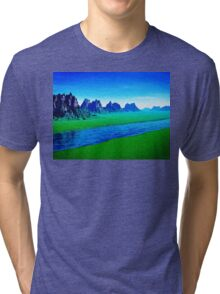Mountain River Landscape Tri-blend T-Shirt