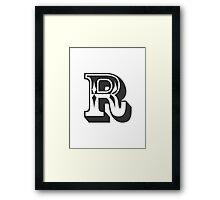 R Initial, Letter, Alphabet Framed Print