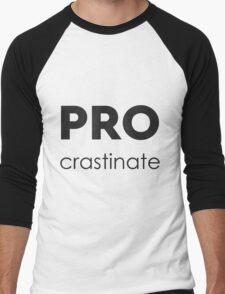 PROcrastinate Black on White Men's Baseball ¾ T-Shirt