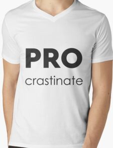 PROcrastinate Black on White Mens V-Neck T-Shirt