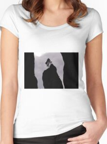 Lonely Tree on the Rock - Nature Photography Women's Fitted Scoop T-Shirt