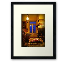 In the yellow kitchen before Christmas Framed Print
