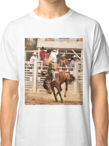 Rodeo Cowboy Riding a Wild Horse Classic T-Shirt