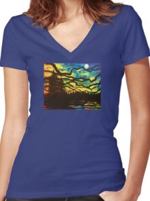 Night Pines Women's Fitted V-Neck T-Shirt