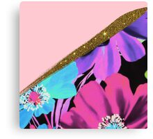Pretty Girly Pink Gold Glitter and Purple Flowers Canvas Print