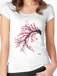 Cherry blossom watercolour painting Women's Fitted Scoop T-Shirt