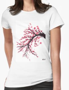 Cherry blossom watercolour painting Womens Fitted T-Shirt