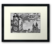 Old Town Square blk/wht Framed Print