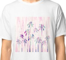 Girly Pink Teal Watercolor Dripping Palm Trees Classic T-Shirt