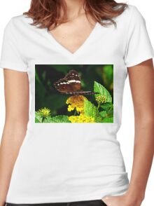 Black Butterfly on Yellow Lantana Women's Fitted V-Neck T-Shirt