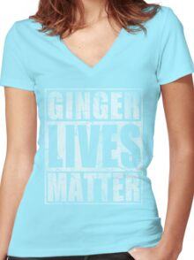 Vintage Fade Ginger Lives Matter St Patrick's Day Women's Fitted V-Neck T-Shirt