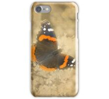 Red Admiral with Book Texture iPhone Case/Skin