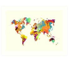 world map color Art Print