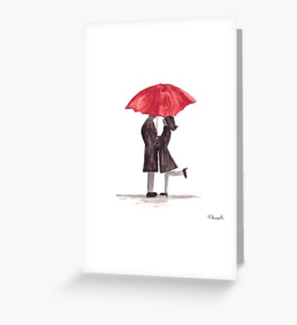 Love couple with red umbrella watercolor Greeting Card