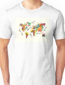 world map text color Unisex T-Shirt