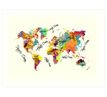 world map text color Art Print